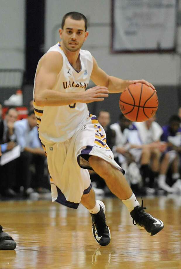 UAlbany's Jacob dibbles down the court during a basketball game against Wagner at the SEFCU Arena Monday, Nov. 26, 2012 in Albany, N.Y. (Lori Van Buren / Times Union) Photo: Lori Van Buren, Albany Times Union / 00020103A