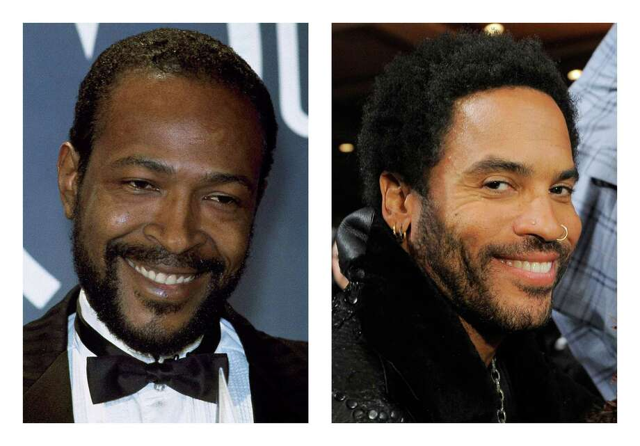 FILE - This combination of 1983 and 2012 file photos shows Marvin Gaye, left, and Lenny Kravitz. Kravitz has signed on for his first leading film role, playing Gaye in a biopic that will be shot in 2013, according to his publicist on Tuesday, Nov. 27, 2012. (AP Photo/Doug Pizac, Chris Pizzello) Photo: Doug Pizac, Chris Pizzello