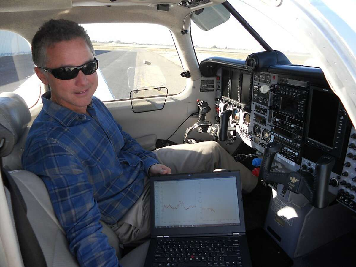 UC Davis atmospheric scientist Stephen Conley has been flying over PG&E natural gas pipelines, looking for leaks. Plumes of methane show up on the screen of his laptop.