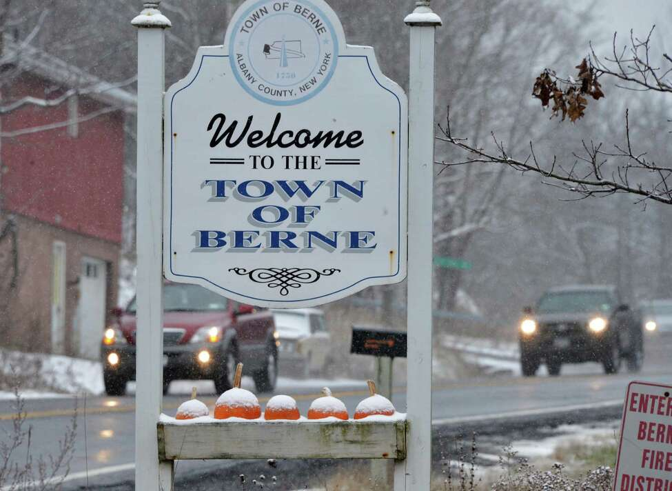 Snow dusted pumpkins on a road sign on Rt. 85 in Berne Tuesday Nov. 27, 2012. Tuesday's snowfall was generally light in the areas around the Capital Region, but in places like Pennsylvania, there was enough snow it seem like winter had arrived. (John Carl D'Annibale / Times Union)