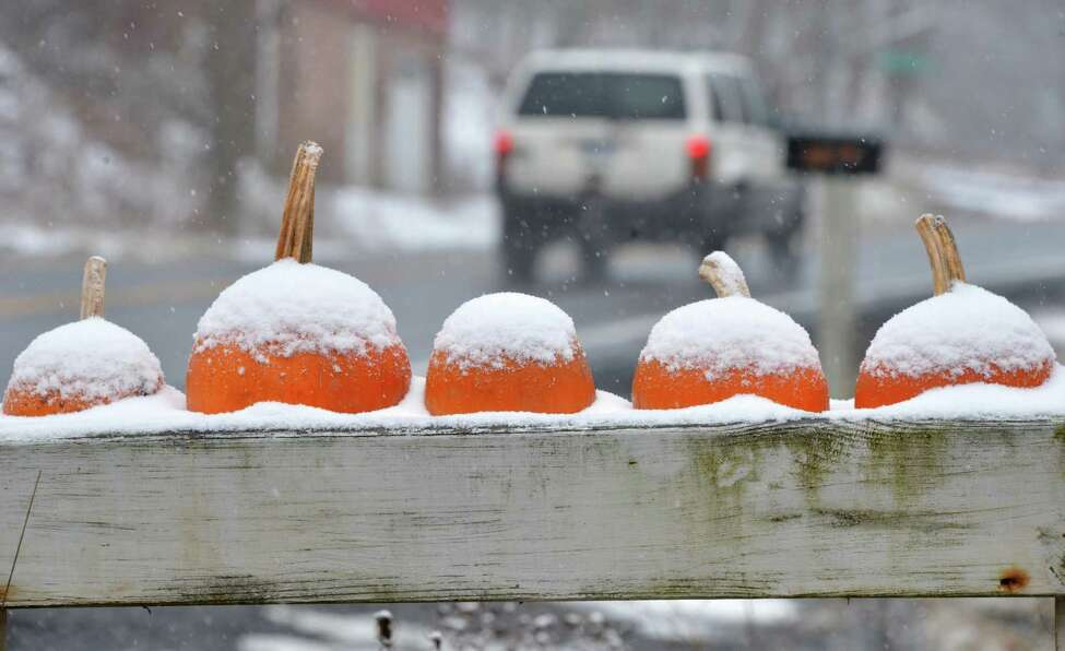 Snow dusted pumpkins on a road sign on Rt. 85 in Berne Tuesday Nov. 27, 2012. (John Carl D'Annibale / Times Union)