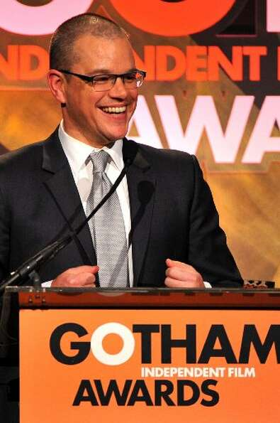 Matt Damon speaks onstage at the IFP's 22nd Annual Gotham Independent Film Awards at Cipriani Wall S