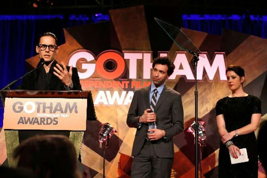 (L-R) Jared Leto, Alex Karpovsky, and Melanie Lynskey speak onstage at the IFP's 22nd Annual Gotham Independent Film Awards at Cipriani Wall Street on November 26, 2012 in New York City. (Photo by Jemal Countess/Getty Images for IFP) (Getty)