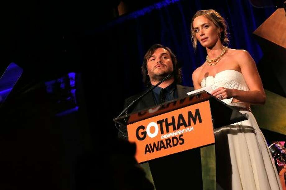 Jack Black and Emily Blunt speak onstage at the IFP's 22nd Annual Gotham Independent Film Awards at Cipriani Wall Street on November 26, 2012 in New York City. (Photo by Jemal Countess/Getty Images for IFP) (Getty)