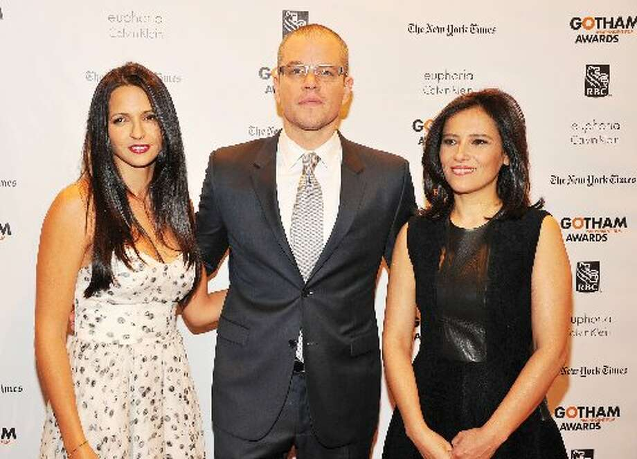 (L-R) Luciana Barroso, Matt Damon, and IFP Executive Director Joana Vicente attends the 22nd Annual Gotham Independent Film Awards at Cipriani Wall Street on November 26, 2012 in New York City. (Photo by Theo Wargo/Getty Images for IFP) (Getty)