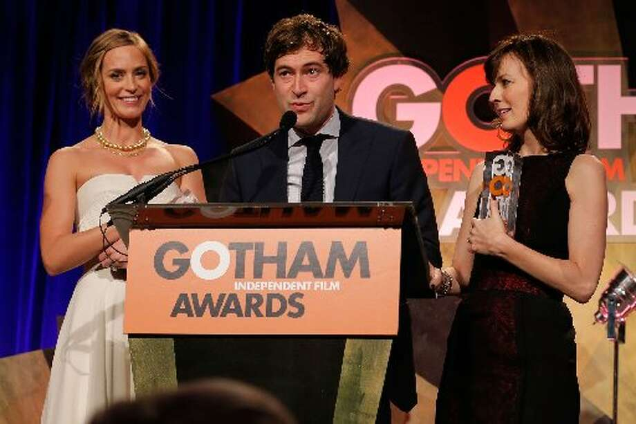 (L-R) Actors Emily Blunt, Mark Duplass, and Rosemarie DeWitt speak onstage at the IFP's 22nd Annual Gotham Independent Film Awards at Cipriani Wall Street on November 26, 2012 in New York City. (Photo by Jemal Countess/Getty Images for IFP) (Getty)