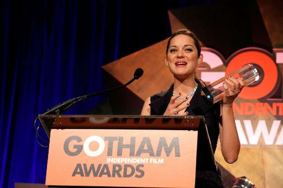 Marion Cotillard speaks onstage at the IFP's 22nd Annual Gotham Independent Film Awards at Cipriani Wall Street on November 26, 2012 in New York City. (Photo by Jemal Countess/Getty Images for IFP) (Getty)