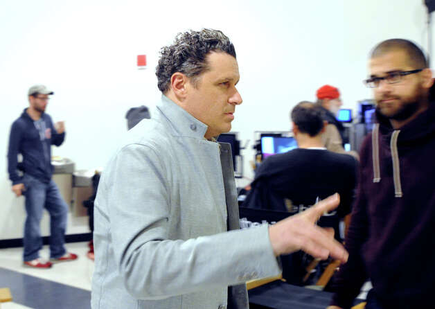 "Fashion designer Isaac Mizrahi on the set of the Showtime television series ""The Big C,"" that was videotaping at the YMCA of Greenwich, Tuesday afternoon, Nov. 27, 2012. Mizrahi is guest-starring on the show as himself, playing the role of a fashion mentor. Photo: Bob Luckey / Greenwich Time"