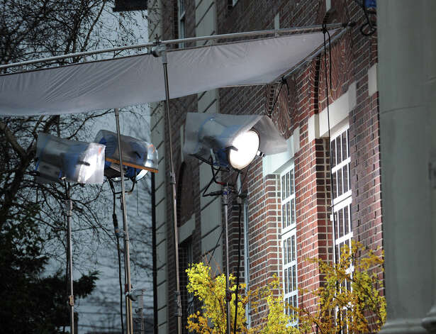 "A lighting set-up for the Showtime television series ""The Big C,"" that was videotaping at the YMCA of Greenwich, Tuesday afternoon, Nov. 27, 2012. Photo: Bob Luckey / Greenwich Time"