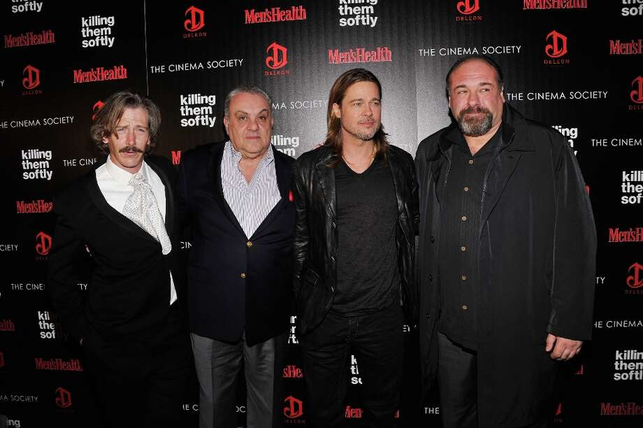 "(L-R) Ben Mendelsohn, Vincent Curatola, Brad Pitt, and James Gandolfini attend The Cinema Society with Men's Health and DeLeon hosted screening of The Weinstein Company's ""Killing Them Softly"" on November 26, 2012 in New York City.  (Photo by Stephen Lovekin/Getty Images) Photo: Stephen Lovekin, Getty Images / 2012 Getty Images"