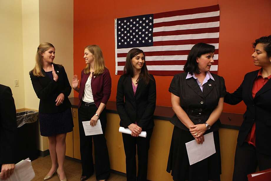 (From left) Staff Sgt. Jennifer Hunt, Capt. Zoe Bedell, 1st Lt. Colleen Farrell, Maj. Mary Jennings Hegar and Anu Bhagwati of the Service Women's Action Network announced the suit. Photo: Liz Hafalia, The Chronicle