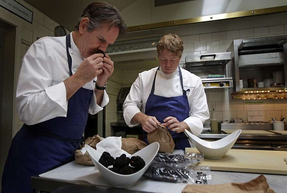 Thomas Keller (left) and Timothy Hollingsworth of the French Laundry test truffles. In the spring, Hollingsworth is leaving as chef de cuisine. Photo: Lance Iversen, The Chronicle