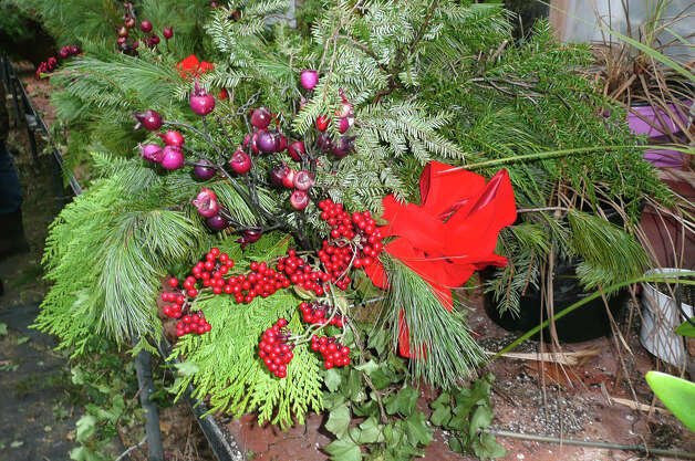 Many of the evergreen branches used in this year's hanging Christmas baskets were collected from trees downed during the recent storms. Photo: Anne W. Semmes
