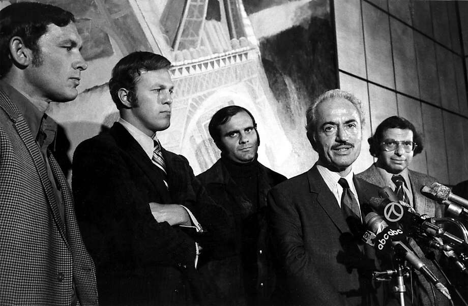 Marvin Miller (with mustache) announced the end of the baseball strike 40 years ago. Behind him were (from left) Boston's Gary Peters, the Dodgers' Wes Parker, the Cards' Joe Torre and attorney Dick Moss. Photo: Associated Press