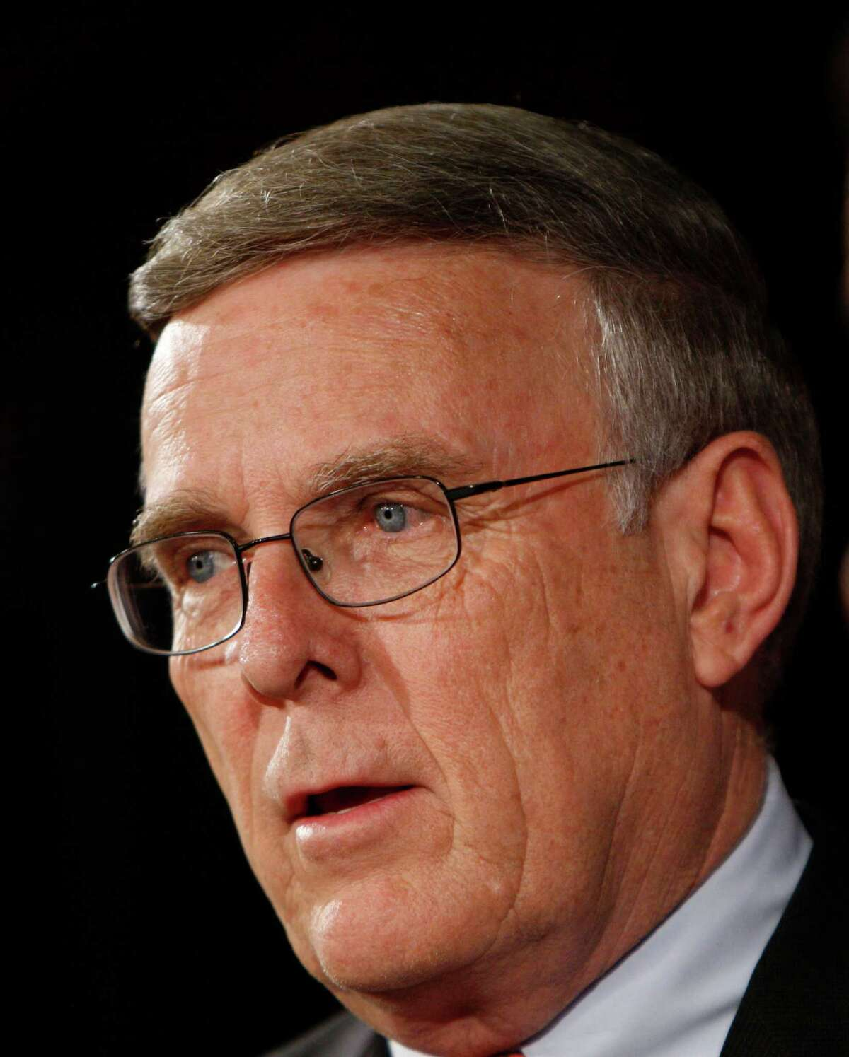 FILE - In this March 4, 2009 file photo, Sen. Byron Dorgan, D-N.D. takes part in a news conference on Capitol Hill in Washington. Dorgan says Jan. 5, 2010, he will not seek re-election to the Senate in 2010, a surprise announcement that could give Republicans an opportunity to pick up a seat from the Republican-leaning state. (AP Photo/Pablo Martinez Monsivais, FILE)