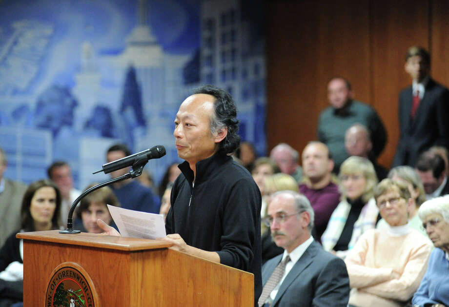 Zan Ng of Cos Cob speaks during the Greenwich Planning & Zoning Commission meeting at Greenwich Town Hall, Tuesday night, Nov. 27, 2012. Ng who lives on Orchard Street, spoke out against a Greenwich Reform Synagogue proposal to subdivide an Orchard Street property to make way for its new facility. Photo: Bob Luckey / Greenwich Time