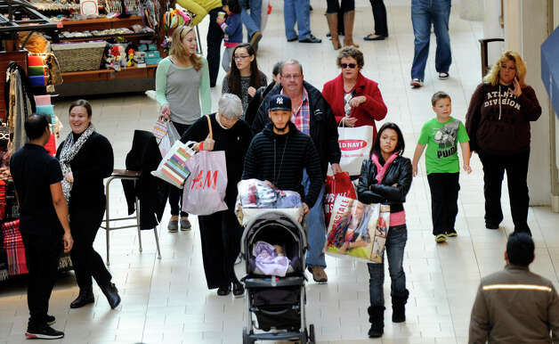 The Danbury Fair mall is crowded with Black Friday shoppers, Nov. 23, 2012. U.S. consumer confidence rose this month to its highest level in almost five years, helped by a better outlook for hiring over the next six months. Photo: Carol Kaliff / The News-Times