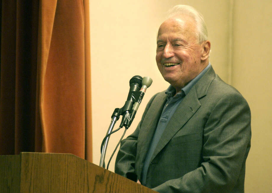 Marvin Miller, former executive director of the Major League Baseball Players Association, speaks during the induction ceremony into The Baseball Reliquary's Shrine of the Eternals at the Pasadena Central Library in Pasadena, Calif., Sunday, July 20, 2003. Miller is credited with shifting the balance of power from owners to players. (AP Photo/Pasadena Star-News, Bernardo Alps) Photo: BERNARDO ALPS, MBR / PASADENA STAR-NEWS