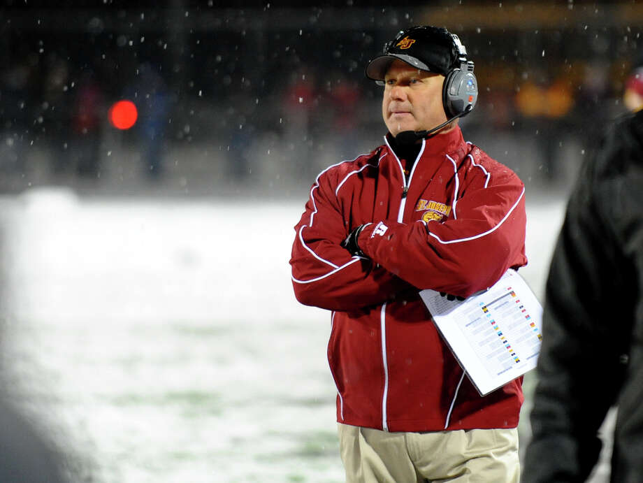St. Joseph Head Coach Joe Della Vecchia, during Class M state football quarterfinal action in East Haven, Conn. on Tuesday November 27, 2012. Photo: Christian Abraham / Connecticut Post