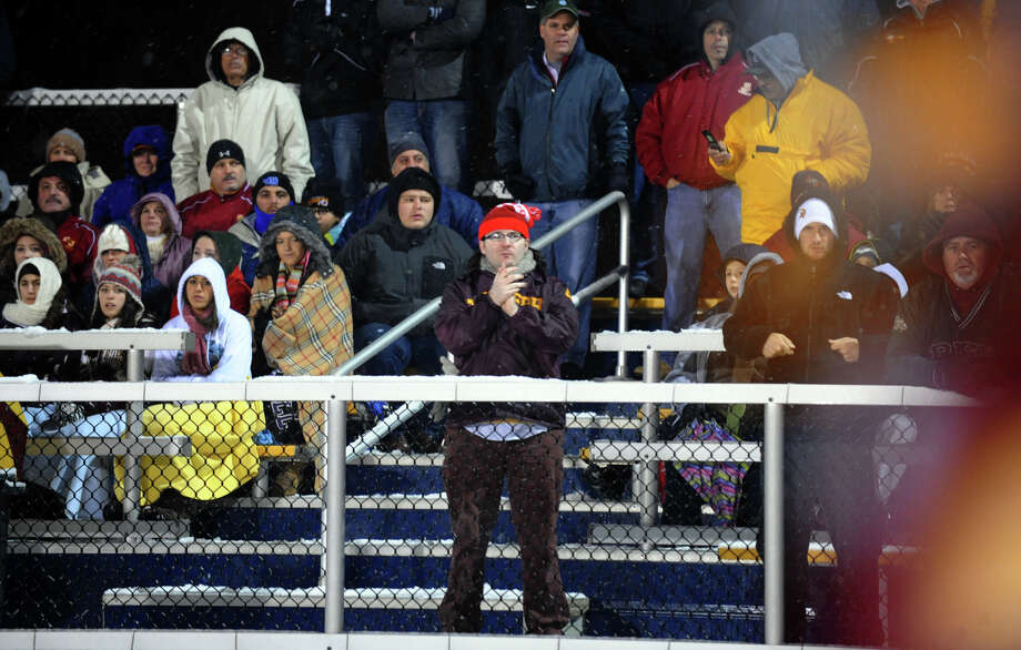 Class M state football quarterfinal action between St. Joseph and Hillhouse in East Haven, Conn. on Tuesday November 27, 2012. Photo: Christian Abraham / Connecticut Post