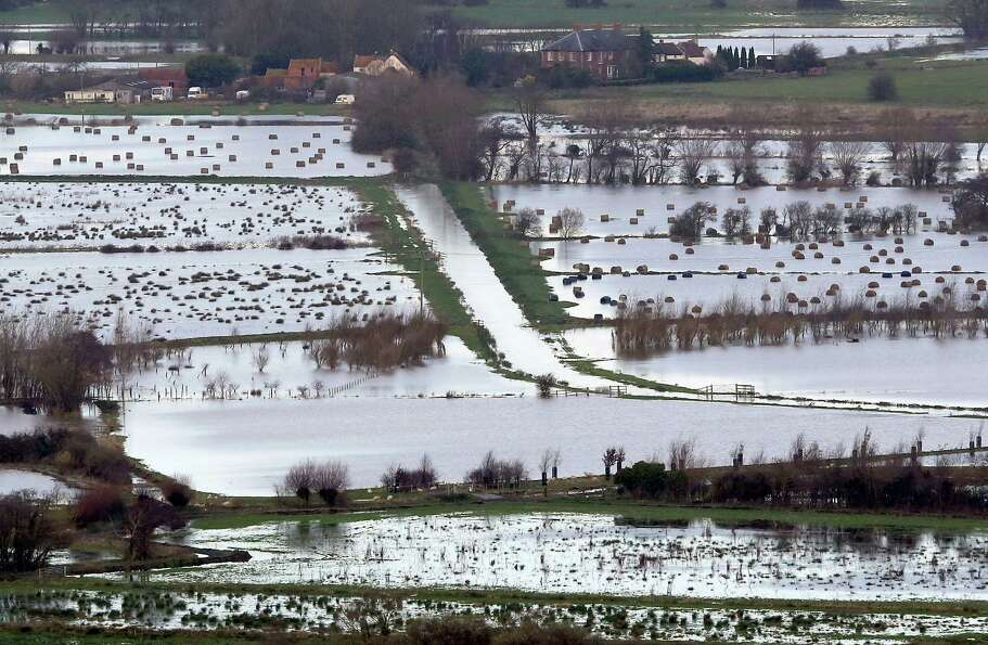 Flood water can be seen in fields surrounding the Glastonbury Tor on the Somerset Levels, on Novembe