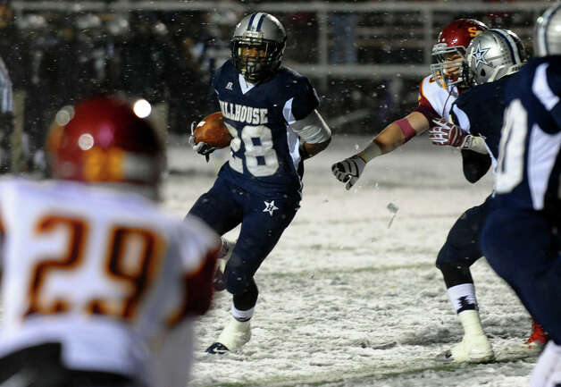 Hillhouse's #28 Andre Anderson, during Class M state football quarterfinal action against St. Jospeh in East Haven, Conn. on Tuesday November 27, 2012. Photo: Christian Abraham / Connecticut Post