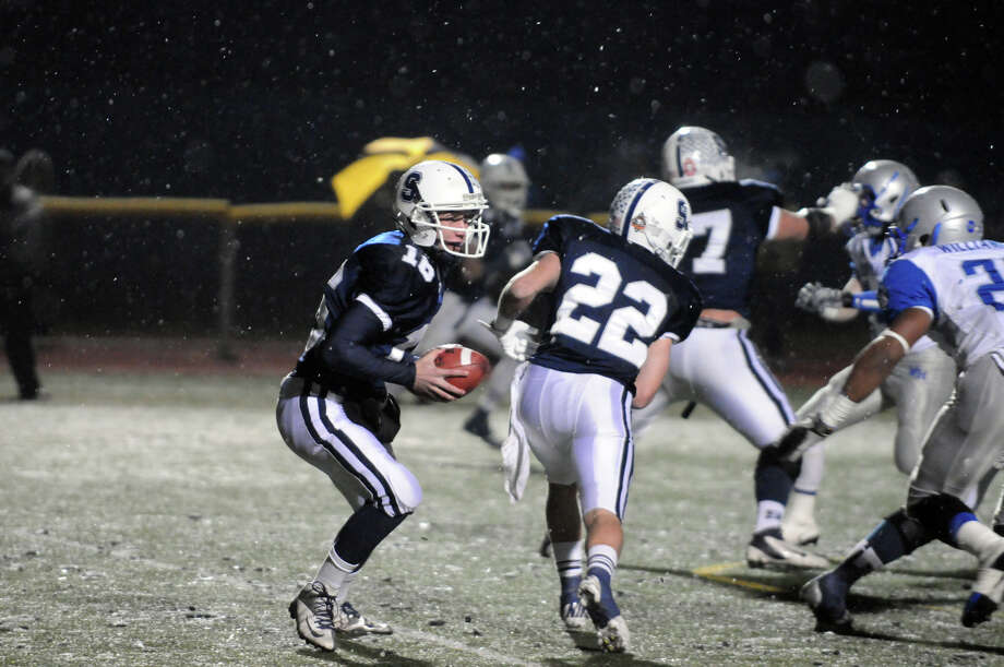 Staples QB Jack Massie in action as Staples High School hosts West Haven in a Class LL football quarterfinals game in Westport, Conn., Nov. 27, 1012. Photo: Keelin Daly / Stamford Advocate Riverbend Stamford, CT
