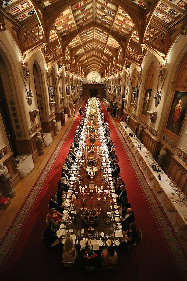 Dignitaries attend a State Banquet for His Highness the Amir Sheikh Sabah Al-Ahmad Al-Jaber Al-Sabah of Kuwait in Windsor Castle on November 27, 2012 in Windsor, England. The Amir of Kuwait is conducting three-day state visit to the UK; tomorrow he will meet with British Prime Minister David Cameron in Downing Street and attend a Banquet at the Guildhall. Photo: Oli Scarff, Getty Images