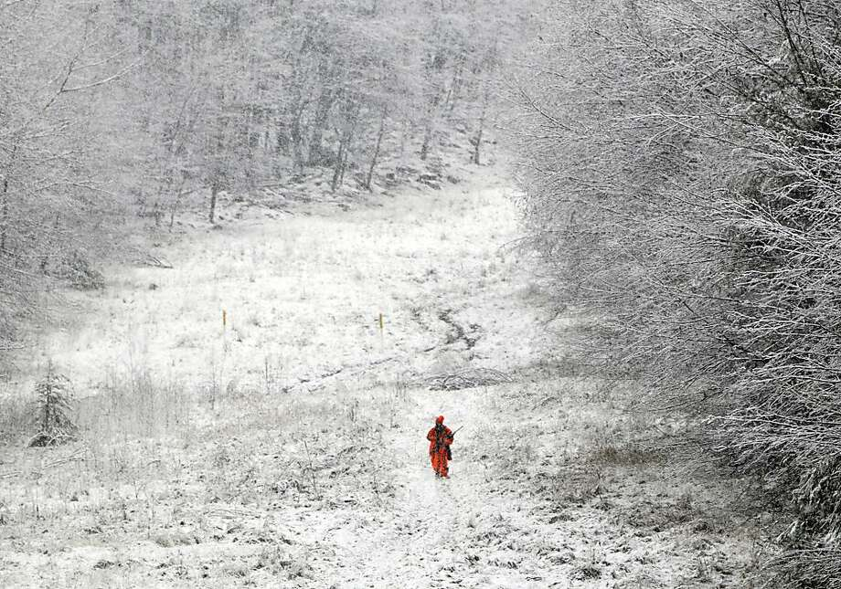 A hunter walks a snowy trail through Michaux State Forest during the second day of firearms deer season Tuesday, November 27, 2012 near South Mountain, Pennsylvania. Photo:              Markell DeLoatch, Associated Press