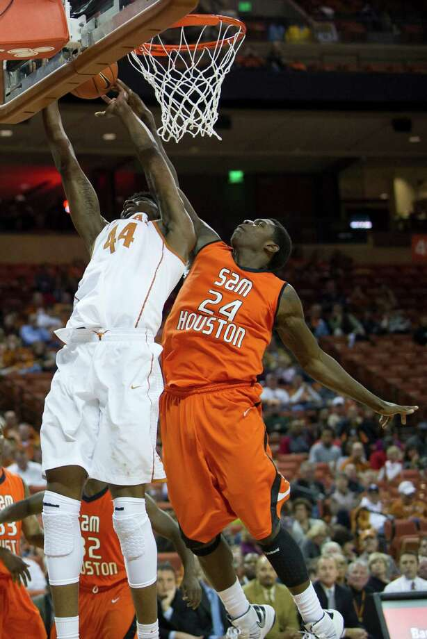 AUSTIN, TX - NOVEMBER 27:  Prince Ibeh #44 of the University of Texas Longhorns tries to dunk the ball against the Sam Houston State Bearkats on November 27, 2012 at the Frank Erwin Center in Austin, Texas. Photo: Cooper Neill, Getty Images / 2012 Getty Images