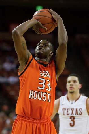 AUSTIN, TX - NOVEMBER 27:  Nathaniel Mason #33 of the Sam Houston State Bearkats shoots a free-throw against the University of Texas Longhorns on November 27, 2012 at the Frank Erwin Center in Austin, Texas. Photo: Cooper Neill, Getty Images / 2012 Getty Images