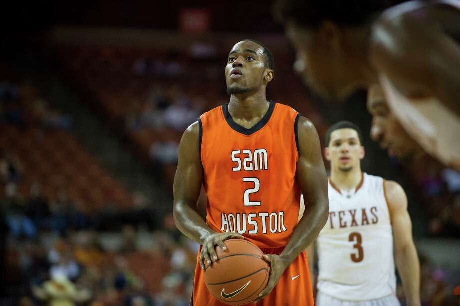 AUSTIN, TX - NOVEMBER 27:  Marquel McKinney #2 of the Sam Houston State Bearkats shoots a free-throw against the University of Texas Longhorns on November 27, 2012 at the Frank Erwin Center in Austin, Texas. Photo: Cooper Neill, Getty Images / 2012 Getty Images