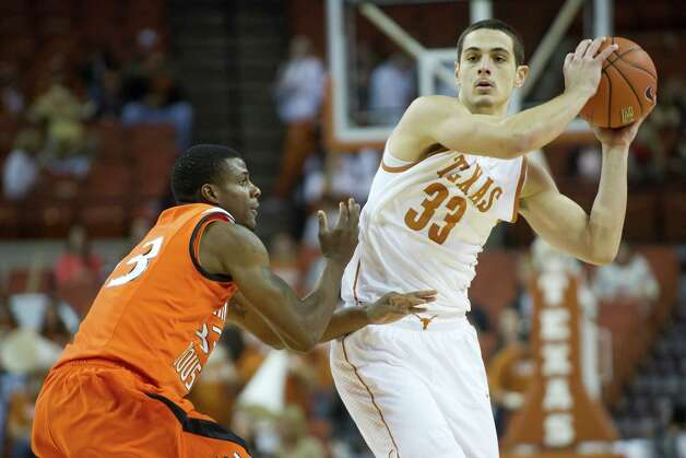 AUSTIN, TX - NOVEMBER 27:  Ioannis Papapetrou #33 of the University of Texas Longhorns brings the ball up the court against the Sam Houston State Bearkats on November 27, 2012 at the Frank Erwin Center in Austin, Texas. Photo: Cooper Neill, Getty Images / 2012 Getty Images