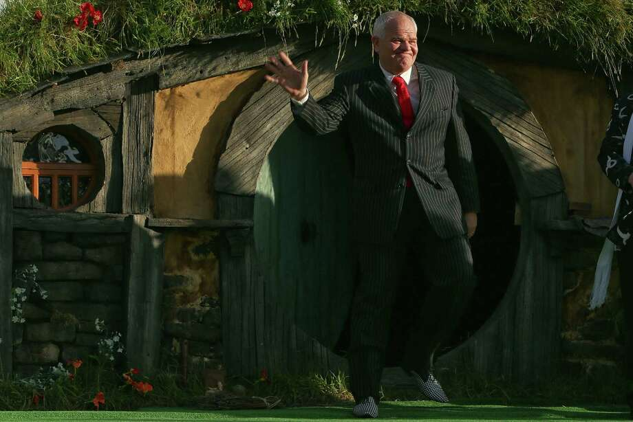"WELLINGTON, NEW ZEALAND - NOVEMBER 28:  Mark Hadlow emerges from a Hobbit house at the ""The Hobbit: An Unexpected Journey"" World Premiere at Embassy Theatre on November 28, 2012 in Wellington, New Zealand.  (Photo by Hagen Hopkins/Getty Images) Photo: Hagen Hopkins, Getty Images / 2012 Getty Images"