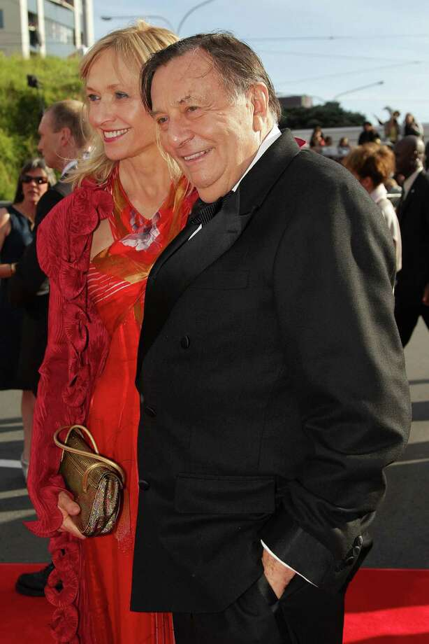 "WELLINGTON, NEW ZEALAND - NOVEMBER 28:  Barry Humphries, who plays Great Goblin, and wife Lizzie Spender arrive at the ""The Hobbit: An Unexpected Journey"" World Premiere at Embassy Theatre on November 28, 2012 in Wellington, New Zealand.  (Photo by Hagen Hopkins/Getty Images) Photo: Hagen Hopkins, Getty Images / 2012 Getty Images"