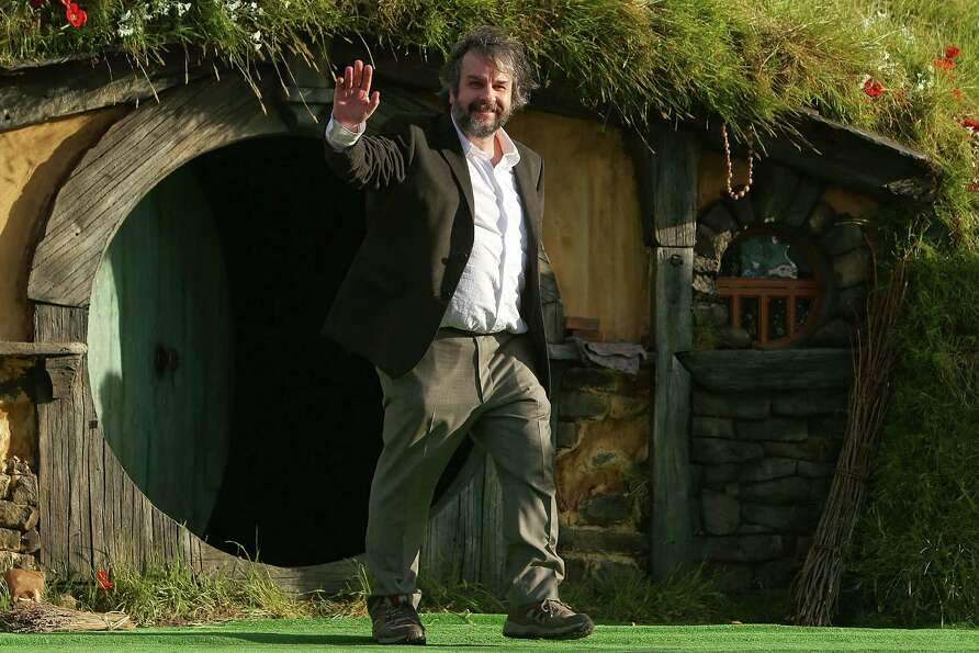 WELLINGTON, NEW ZEALAND - NOVEMBER 28:  Director Sir Peter Jackson emerges from from a Hobbit house