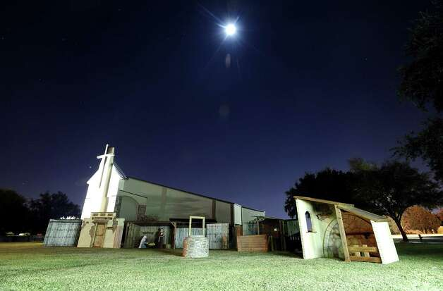 The nativity scene at the Wesley United Methodist Church on Helena Avenue in Nederland was destroyed shortly after being put up on display on Saturday, November 24, 2012. Photo taken: Randy Edwards/The Enterprise