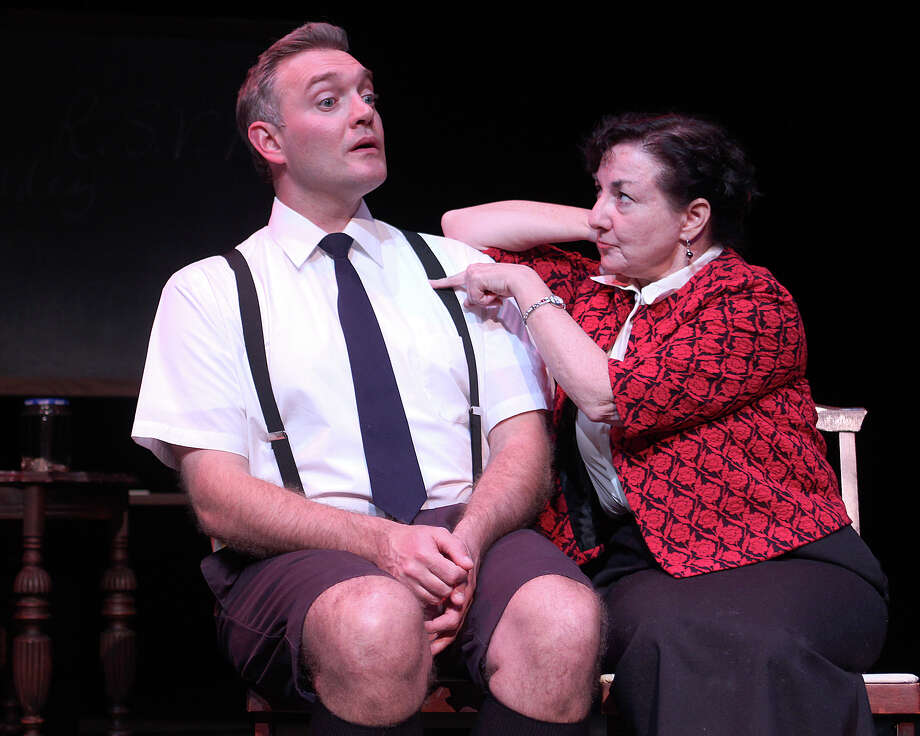 Randy McConnach plays multiple characters and Melissa Brown the title character in the comedy ?Mrs. Mannerly? at Schenectady Civic Players. (TOM KILLIPS)