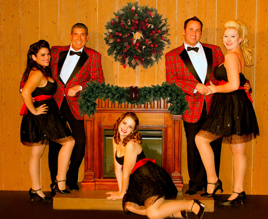 "The cast for the Harlequin Dinner Theatre's ""In the Mood for Christmas"" includes, from left, Sarah Peters, Johnny Halpenny, Seeley Stephens, Shawn Kjos  and Kylee Skye Lynn. Courtesy Harlequin Dinner Theatre Photo: Harlequin Dinner Theatre"