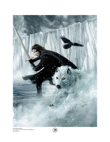 'A Song of Ice and Fire' limited edition print of Jon Snow and Ghost by San Antonio artist John Picacio. The print is from the 2012 'A Song of Ice and Fire' Calendar, which Picacio illustrated. For local gift guide of fantasy/sci-fi items with San Antonio-connected geek talents. Photo: Handout