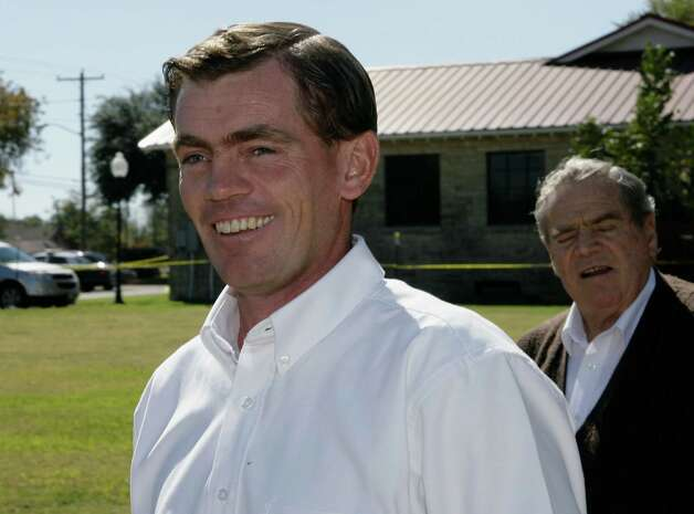 """Raymond Jessop, left, the first man to face criminal charges following the raid of a polygamist sect's West Texas ranch in April, 2008, is seen outside the courtroom during a recess in his trial in Eldorado, Texas on Nov. 5, 2009. Jessop was found guilty, the first man to face criminal charges following the raid of a polygamist sect's west Texas ranch in April 2008, was found guilty of sexually assaulting a teen with whom he had a so-called """"spiritual marriage."""" Photo: Harry Cabluck, AP / AP"""