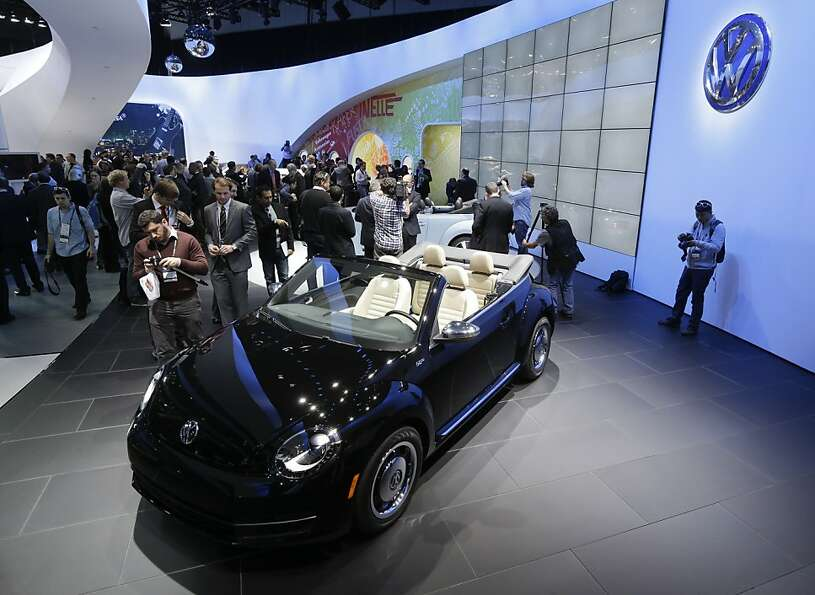 Volkswagen Beetle convertible is shown during its world debut at the LA Auto Show in Los Angeles, We