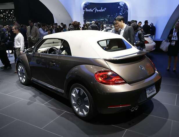 Volkswagen Beetle convertible is shown during its world debut at the LA Auto Show in Los Angeles, Wednesday, Nov. 28, 2012. The annual Los Angeles Auto Show opened to the media Wednesday at the Los Angeles Convention Center. The show opens to the public on Friday, November 30. Photo: Chris Carlson, Associated Press