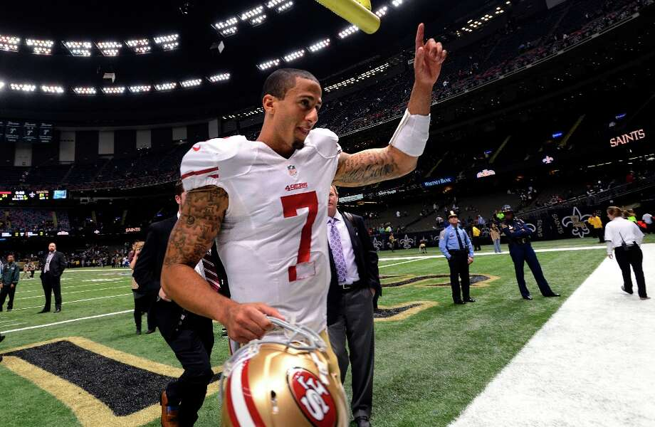 San Francisco 49ers quarterback Colin Kaepernick (7)  gestures after his second start in an NFL football game against the New Orleans Saints in New Orleans, Sunday, Nov. 25, 2012. The 49ers defeated the Saints 31-21. Photo: Bill Feig, Associated Press / FR44286 AP