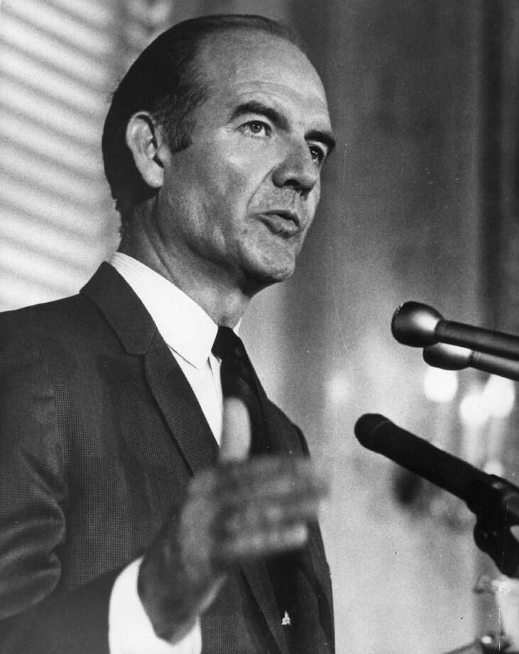 Former Presidential candidate George McGovern, 90, died Oct. 21. The former U.S. senator was also a decorated Air Force pilot. (Photo by Keystone/Getty Images) Photo: Keystone, Getty Images / Hulton Archive