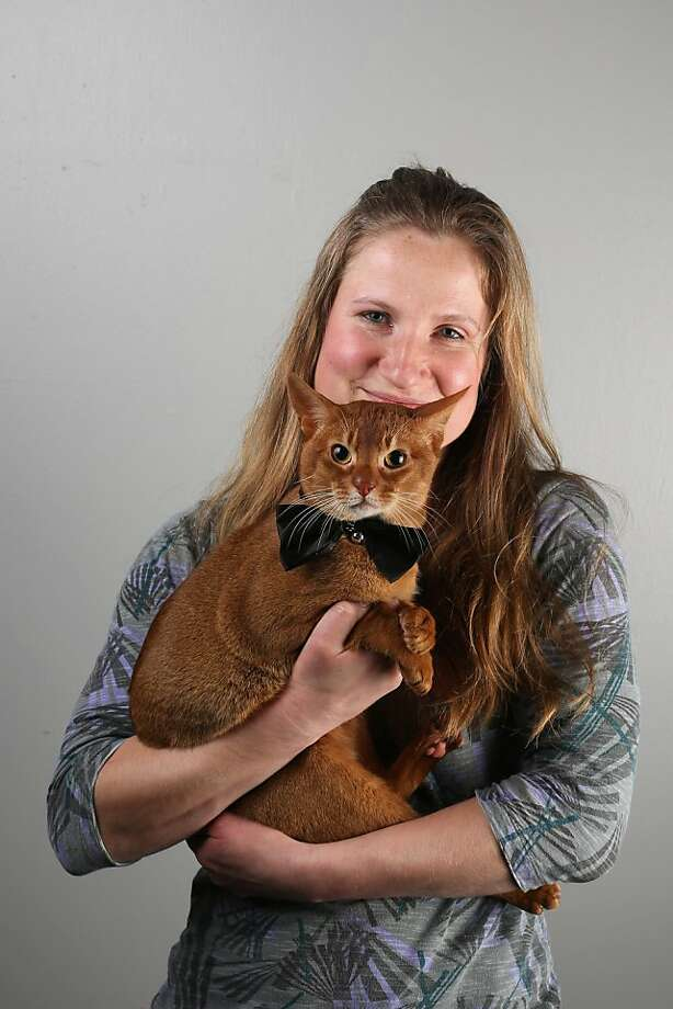 I was told it was black tie! Strangewaytotell, an Abyssinian owned by Leanne Dawson, shows up at the Supreme Championship Cat Show overdressed. Photo: Oli Scarff, Getty Images