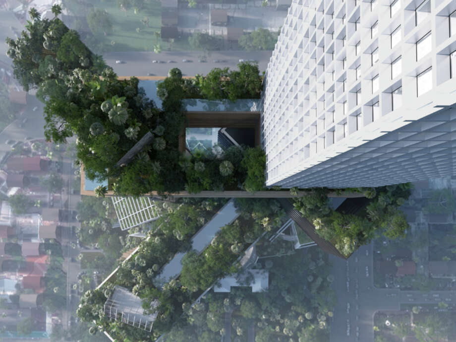 Trees would provide extra shade while the height of the parks would allow for a cooling breeze. Photo: MVRDV