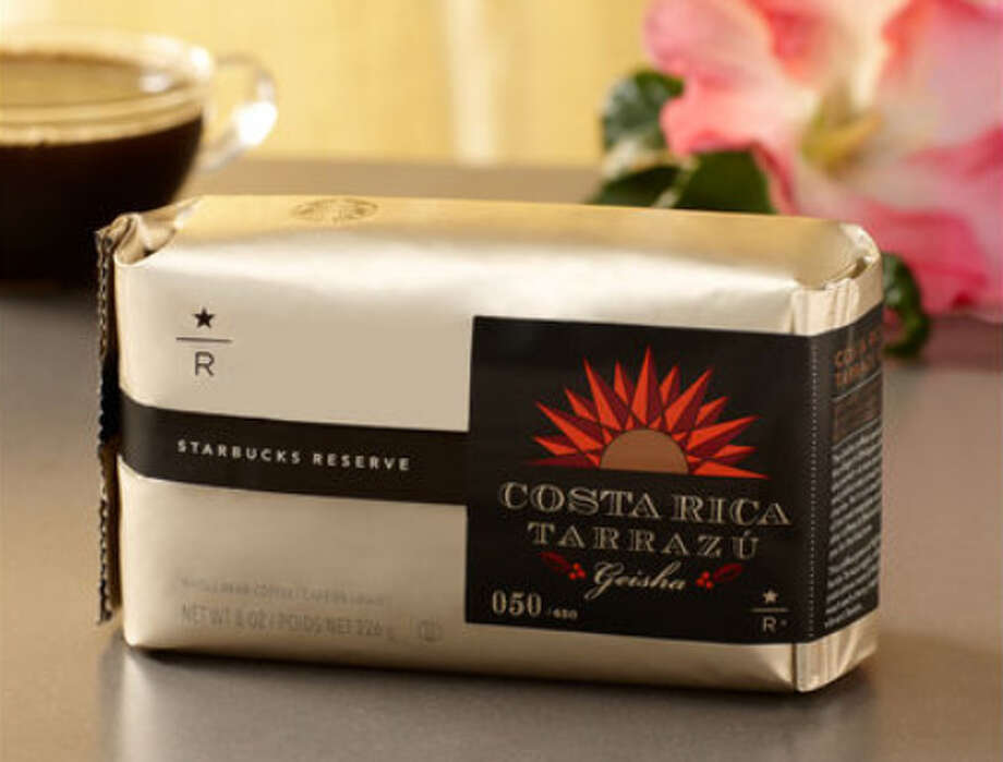 Starbucks quickly sold out of this version of Geisha online, ($40 for a half-pound). Starbucks says it has rose petal aromas with ripe banana and subtle red current notes and silky mouth feel. Hmmm. Never thought of tropical fruit in my coffee. (Photo via starbucksstore.com).