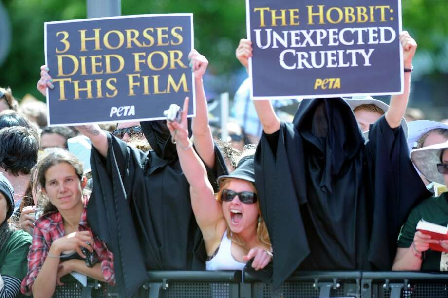 Protesters against the death of animals during the filming of The Hobbit: An Unexpected Journey display banners on the red carpet for the premiere of the movie in Wellington, New Zealand, Wednesday, Nov. 28, 2012. (AP Photo/SNPA, Ross Setford) Photo: Ross Setford, Associated Press / SNPA