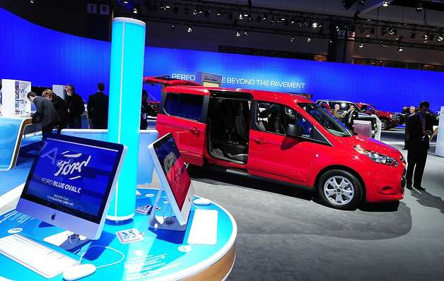 The new seven-passenger Ford Transit Connect Wagon is on display at the 2012 Los Angeles Auto Show in Los Angeles on media preview day, November 28, 2012.   The LA Auto Show will open to the public on November 30 and runs through December 9 Photo: Robyn Beck, AFP/Getty Images